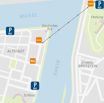 Your arrival in Koblenz ber den Rhein auf die Festung